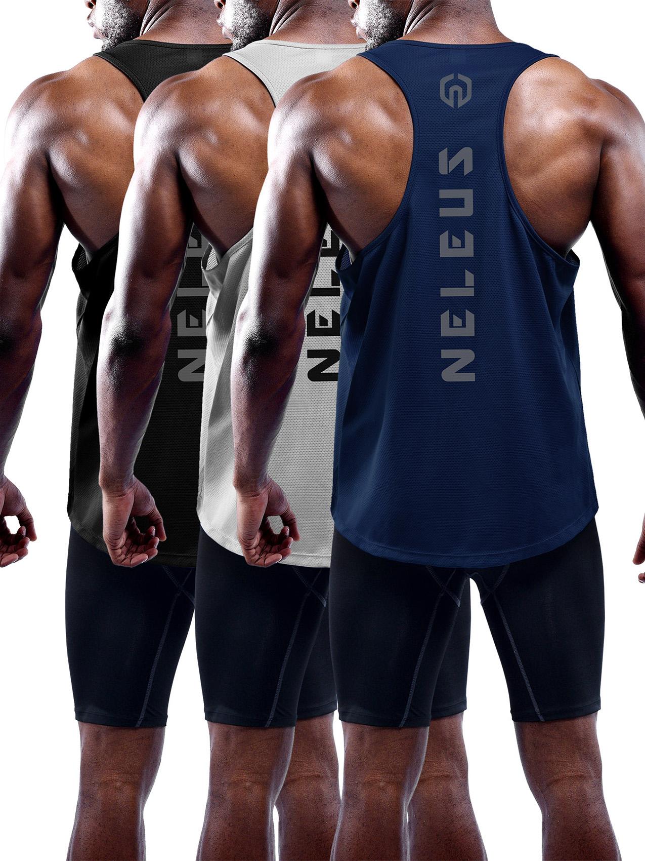 1ee6f80c12ac74 Neleus Men s 3 Pack Dry Fit Y-Back Muscle Tank Top